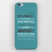 oscar wilde iPhone & iPod Skins featuring Oscar Wilde - poster by Katya Sarria