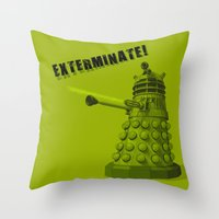 dalek Throw Pillows featuring Dalek by Digital Arts & Crafts by eXistenZ