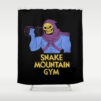 gym Shower Curtains featuring snake mountain gym by Louis Roskosch