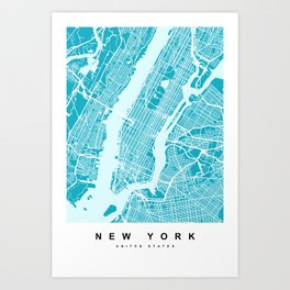New York Map | Blue & Cyan Art Print