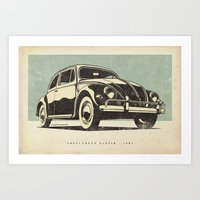 volkswagon Art Prints featuring Volkswagon Beetle - 1957 by dooderwear