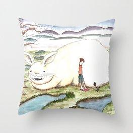 Bunny and Girl Throw Pillow