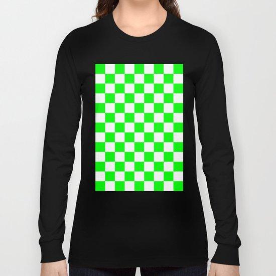 Checker (Green/White) Long Sleeve T-shirt