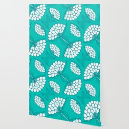 African Floral Motif on Turquoise Wallpaper