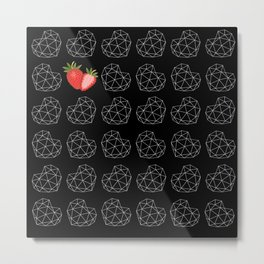 Geometric berry heart pattern on black Metal Print