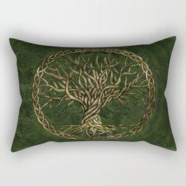 Tree of life -Yggdrasil -green and gold Rectangular Pillow