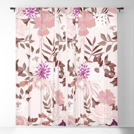 Vintage Pink Flowers Painted Watercolour Garden Pattern Blackout Curtain