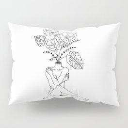 Female Form in Bloom Floral Design Pillow Sham