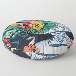 Nasturtium Bouquet in Chinoiserie Bowl on Dark Blue Floral Still Life Painting Floor Pillow