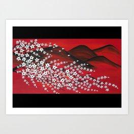 red black and white Japanese cherry blossom design Art Print