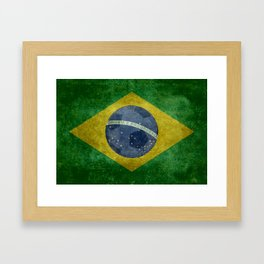 Vintage Brazilian National flag with football (soccer ball) Framed Art Print