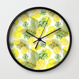 Pineapple Watercolor Fresh Summer Fruit Wall Clock