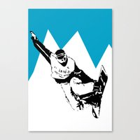 snowboarding Canvas Prints featuring Snowboarding Design by Cwilwol