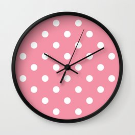 Polka dot fabric with White Dots on Old Fashion Pink  Wall Clock
