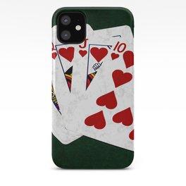 Poker Royal Flush Hearts iPhone Case
