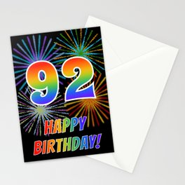 "92nd Birthday ""92"" & ""HAPPY BIRTHDAY!"" w/ Rainbow Spectrum Colors + Fun Fireworks Inspired Pattern Stationery Cards"
