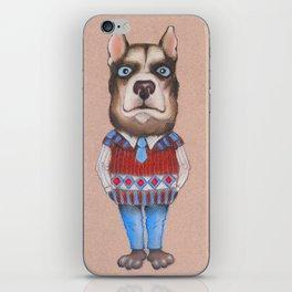 Portrait of a dog in a sweater. iPhone Skin