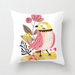 Little Birdy on a Log Throw Pillow