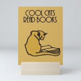Cool cats read books Mini Art Print