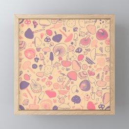 Vintage Mushroom Pattern Framed Mini Art Print