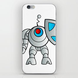 robot with a shield iPhone Skin