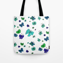 Blue Butterfly Mania Tote Bag