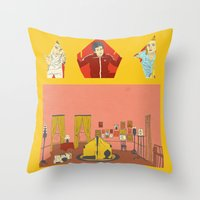 royal tenenbaums Throw Pillows featuring The Royal Tenenbaums by Guiltycubicle