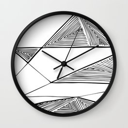 Triangles perspective geometric ink-pen drawing Wall Clock