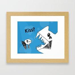 Grumpy Fish Needs a Kiss - Art by a Child Framed Art Print