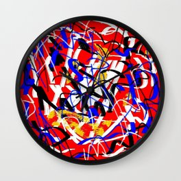 Abstract red white yellow blue Wall Clock