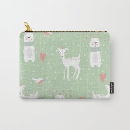 Fawn and bear mint green Carry-All Pouch