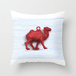 Genetically challenged camel trying to cross the blue mirage Throw Pillow