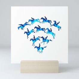 Connected to Showjumping (Blue) Mini Art Print