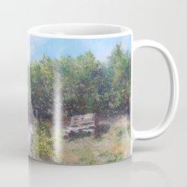 pallets bench in summer  Coffee Mug