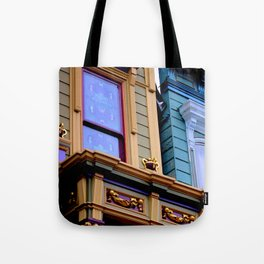 Grand Dame With Old Blue Tote Bag