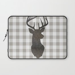 Rustic Farmhouse Decor, Stag Deer, Gingham Pattern, Grey and White Laptop Sleeve