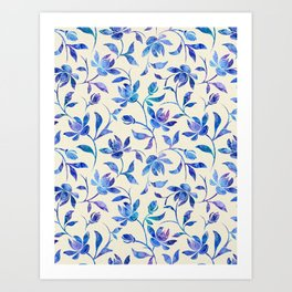 Ink Painted Floral Pattern Art Print
