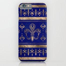 Fleur-de-lis ornament - Lapis Lazuli and Gold iPhone Case