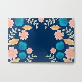 Peach Floral Embroidering Design  Metal Print