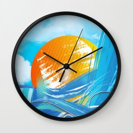 The sea absorbs the sun - Raster abstract Wall Clock