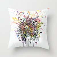 junk food Throw Pillows featuring Junk Food  by Sam Corona