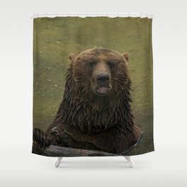 Grizzly Bear In The Water Shower Curtain