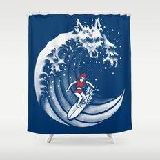 Little Red Surfing Hood Shower Curtain