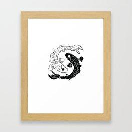 Yin and Yang Koi Carp Balance Framed Art Print
