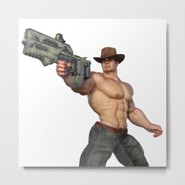 Cowboy with futuristic gun Metal Print