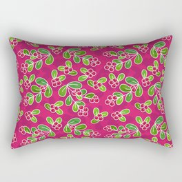 Cranberry Fruit Pattern on Fuchsia Rectangular Pillow