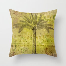 Vintage Journey palmtree typography travel collage Throw Pillow