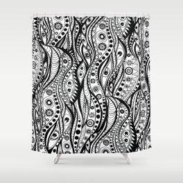 Distorted Dream Print (Black/White) Shower Curtain