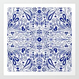 Chinoiserie Folk Seamless Pattern Art Print