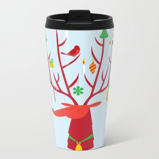 Reindeer (Blue version) Metal Travel Mug